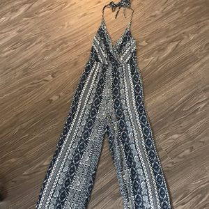 Tobi tribal pattern halter jumpsuit